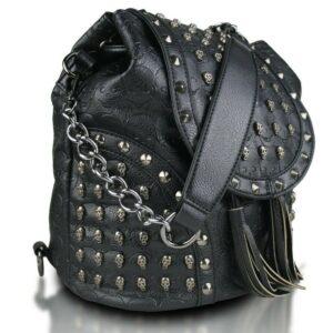 Miss Lulu Skull Studded Backpack Shoulder Bag, Colour Black